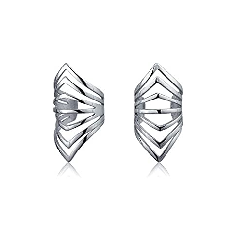 Modern Chevron Geometric 925 Sterling Silver Ear Cuff