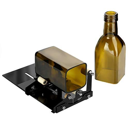 AGPTEK Flaschenschneider Set mit Zubehör-Werkzeugsatz, inkl. 2 Schneid-Räder, 4 Schleifpapiere, 1 Sechskantschlüssel, 1 Maßstabskarte, passend für runde und quadratische Flasche (schwarz)
