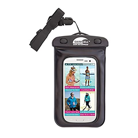 SwimCell Waterproof Case For all Phones. iPhone 6, 7, Samsung, Camera, Money, Keys. High Quality Pouch. Tested to 10M for swimming underwater. Certified IPX8. 10cm x 14.5cm, up to 6 inch screen. SCBK01