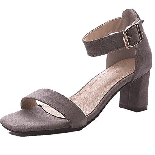 SHUNLIU Damen Pumps Sandalen Damen Wildleder Offen Knöchelriemchen High Heel Sandalen mit Schnalle und 6cm Blockabsatz Pumps Schuhe Grau
