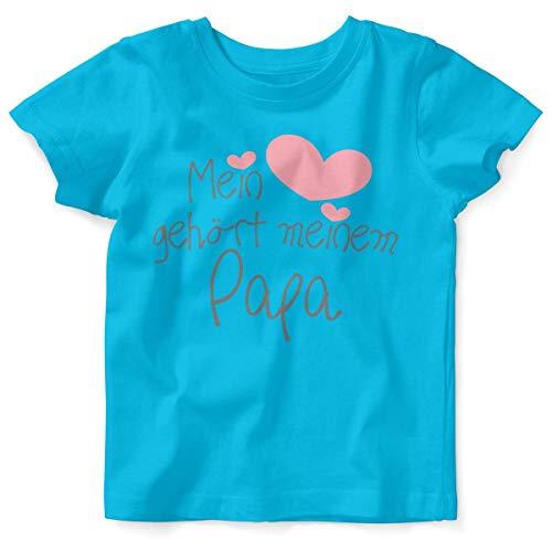 Mikalino Baby/Kinder T-Shirt mit Spruch für Jungen Mädchen Unisex Kurzarm Mein Herz gehört Meinem Papa | handbedruckt in Deutschland | Handmade with Love, Farbe:Atoll, Grösse:80/86