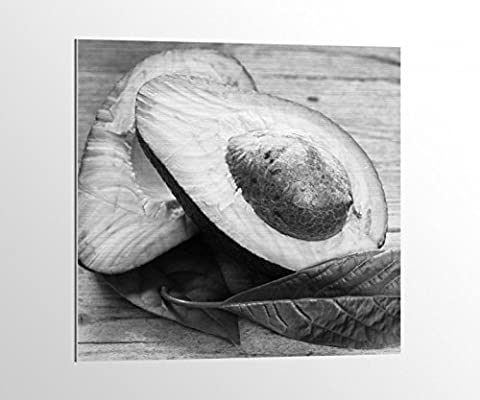 Alu-Dibond schwarz weiß Avocado Avokado Obst Küche Frucht Bild auf Aluminium AluDibond UV Druck gebürstet Wandbild Metall Effekt 16A1024, Alu-Dibond 1:50x50cm