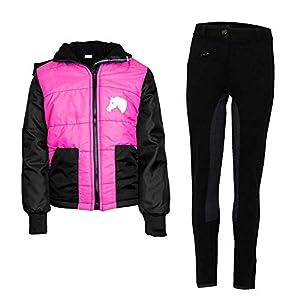 MS-Trachten Kinder Reitset Reithose schwarz mit Reitjacke Mia pink gesteppt Fleecefutter