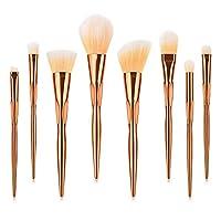 amazingfr Make-up Brushes Tools 8PCS Metal Makeup Brushes Set Multi-purpose Useful Face Foundation Eyeshadow Lip Plating Cosmetic Brush Kit Gift for Women