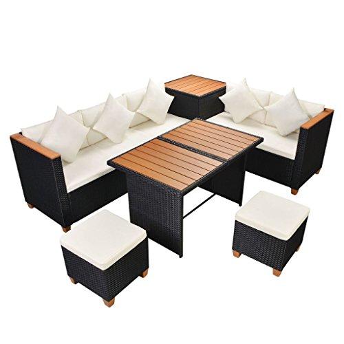 vidaXL Garten Essgruppe 22-tlg. Poly Rattan WPC Schwarz Lounge Set Gartenmöbel
