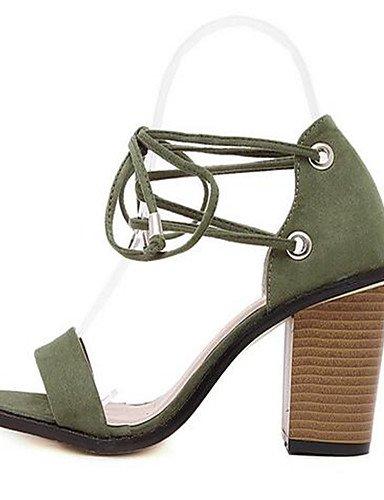 WSS 2016 Chaussures Femme-Décontracté-Noir / Vert-Gros Talon-Talons-Chaussures à Talons-Polyuréthane green-us6.5-7 / eu37 / uk4.5-5 / cn37