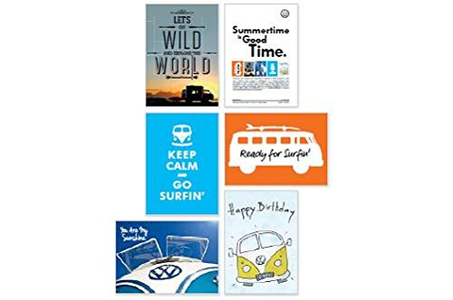 VW Bulli Postkarten-Set mit 5 Motiven, T1 Sommer Edition - 211087703