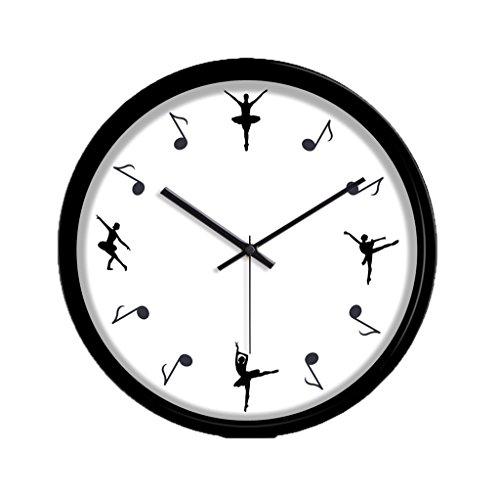 Wall clock-Q QFF Tanzen-Trainings-Klassen-stumme Wand-Taktgeber, Quarz-Wanduhr (30-35CM) Wohnzimmer-Kleidungs-Speicher-Wand-Taktgeber Familiennutzung (Farbe : Black, Größe : 35 * 35CM)