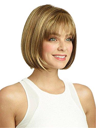 Milrüme Perücke Damen Braun Blond Kurzhaar Wig Ombre Perücken Frauen und Perückennetz Weise Frauen Natürlich Volle Wig DE013