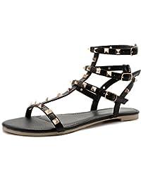 Xmansky Frauen Sandalen Sommer Mode Pailletten Ankle High Heels Block Schnalle Party Offene Spitze Schuhe