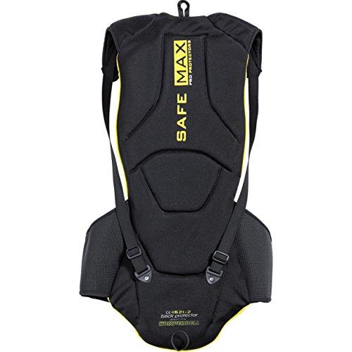 Safe Max® Umschnall-Rücken-Rrotektor 2.0, extrem leicht, lange Bauform, integrierter Nierengurt, individuelle Weitenverstellung, beidseitig tragbar, höchste Schutzklasse, Schwarz/Gelb, L