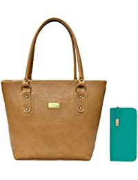 Clementine Women's Handbag And Clutch (Beige, Aqua)