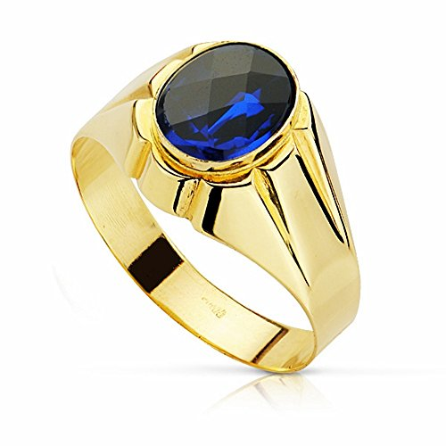 SELLO ORO 18K PIEDRA ESPINELA AZUL 10MM  [AA2301]