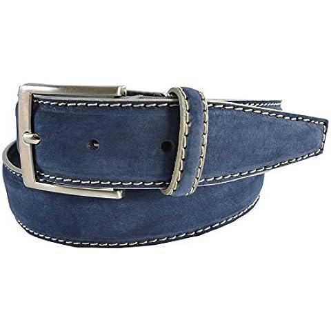 CTM Cintura in vera pelle italiana, scamosciata con cuciture decorative sui margini, realizzata interamente a mano con fibbia in metallo