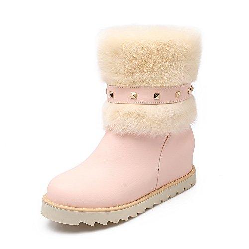 AgooLar Damen Mittler Absatz Niedrig-Spitze Eingelegt Ziehen Auf Stiefel Pink