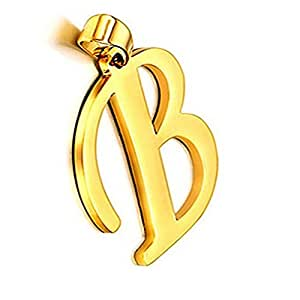 JewelryWe Gioielli Collana da Uomo Donna in Acciaio Inossidabile, Nome Iniziale Lettera di Alfabeto da A a Z,Colore Oro