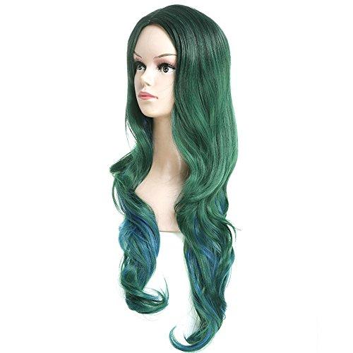 BRG315 Frau Sexy Lange Lockige Haare Dunkelgrüne (Dunkelgrün Kostüme Perücken)
