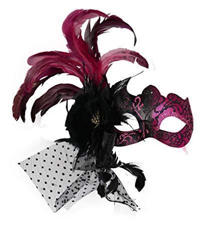 Pink-schwarze venezianische Maske mit Federn