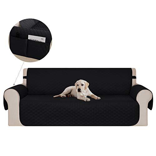 Deconovo copridivano 3 posti trapuntato con due tasca fodera divano protegge il mobile per cani/gatti letto 173x190cm nero