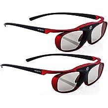 "2x Hi-SHOCK® 3D-BT Pro ""Scarlet Heaven"" | Smart active Gafas 3D para HD / 4K 3DTV 's de Sony®, Samsung®, Panasonic®, Sharp®, Toshiba®, LG® Plasma, Hisense® (2012-2018*) | compatible con SSG-3570 CR / TDG-BT500A / AN3DG35 / TY-ER3D5ME / FPT-AG03G / AG-S350 / FPS3D08 | optimiza la nitidez, brillo y contraste [Gafas de obturador | 120 Hz | recargables | 32 g | Bluetooth | Rojo metálico]"