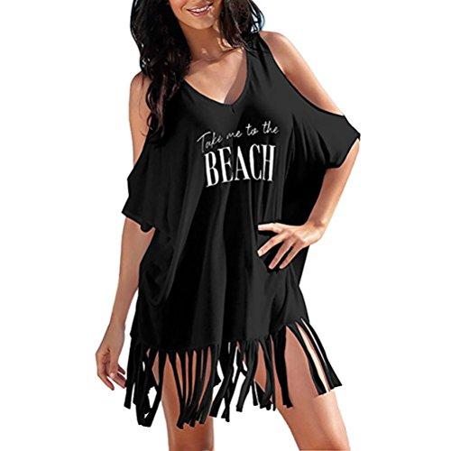 Longra Damen Strandkleid Bikini Cover Up Quasten Strandponcho Sommer Bademode Damen Kurzarm Off-Shoulder-Kleider V-Ausschnitt Beachwear Oversize-Shirts Kleider Sommerkleid Tunika Kleider (Black, XL)