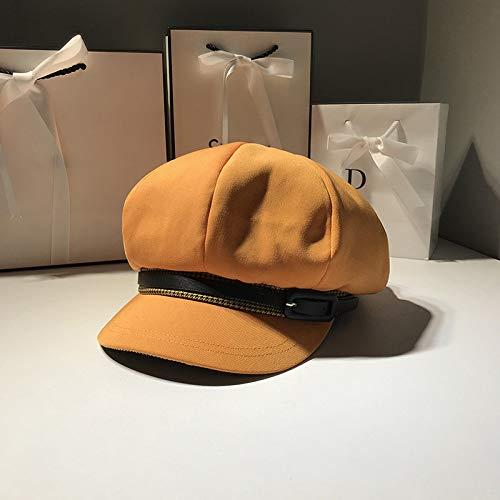 mlpnko Wilde Gürtel achteckigen Hut weibliche Ente Zunge Baskenmütze Hut Kunst Retro Knospe Hut Dünnschliff Orange M (56-58cm) -