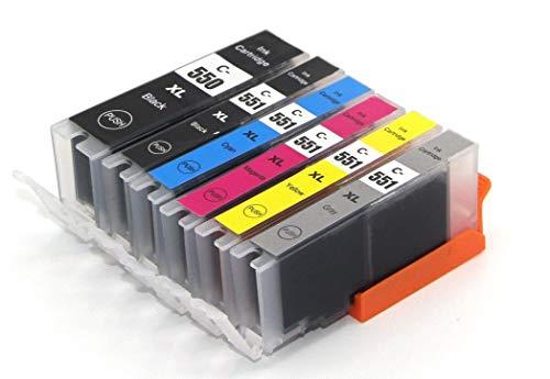 6 Druckerpatronen für Canon PGI-550 XL CLI-551 XL mit Chip kompatibel für IP7200 IP7250 IX6800 IX6850 MG5400 MG5450 MG5550 MG5600 MG5650 MG5655 MG6450 MG6600 MG6650 MX720 MX725 MX920 MX925 mit Grau - Blau Canon Toner