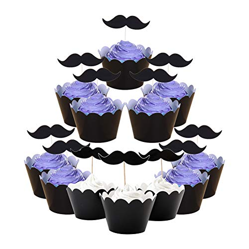 Lumanuby Schwarz Bart Cupcake Wrappers Paiper Muffin Deko Sets von 12 Stück Beard Kuchen Toppers und Kuchen Pappbecher für Hochzeit oder Verlobung