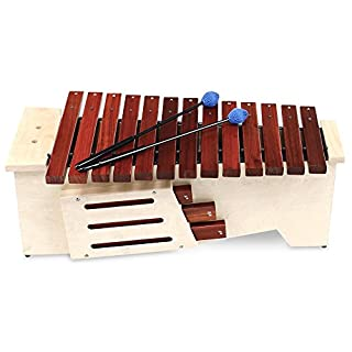 Classic Cantabile AX-1600NG Altxylophon (Alt Xylophon, 16 Töne, C-Dur Tonleiter, Tonumfang: c' bis a'', Resonanzkasten aus Lindenholz, Schlägel) Lindenholz