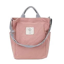 Gindoly Casual Handtasche Damen Canvas Chic Schultertasche Damen Henkeltasche Schulrucksack Große umhängetasche Tasche pink EINWEG