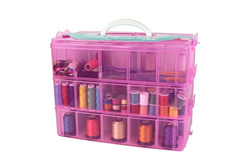 RKPM 3-Layer Transparent Plastic Organizer Storage Box/Basket/Container with Collapsible and Removable Dividers(31 X 19 X 24Cm)(Pink)