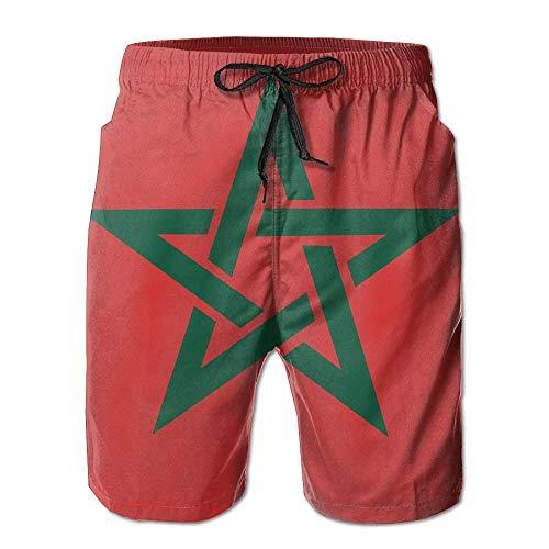 Hunter qiang Herren Badeshorts Marokko-Flaggenkarte Gr. S 7-9, Mehrfarbig -