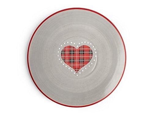 H&H cœur Rouge Plat à Tarte en céramique, cm 30,5, céramique, Gris et Rouge, 30 x 1 x 30 cm