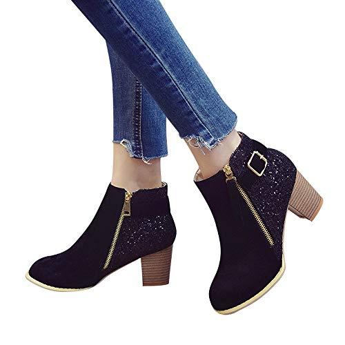 Chaussures Femmes,Sonnena Bottes Femme Automne Hiver Bottes à Cylindre Bas Fashion Lady Tassel Bottes Plates Flock pour Femme