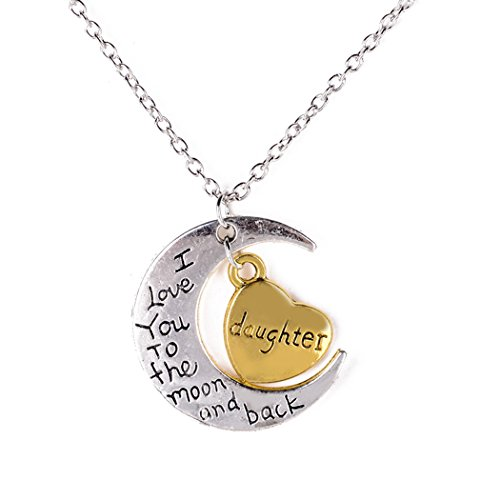 I Love You To The Moon And Back Family Pendant Necklace Choker Chain (Daughter)