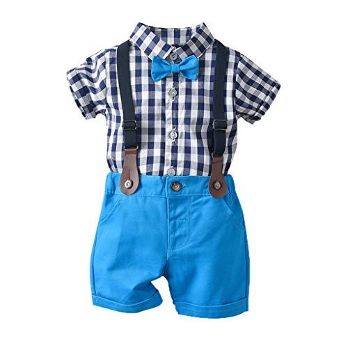SUNFANY 2 Pcs Baby Jungen Bekleidung Set Festliche Kleidung Kleinkind Herren Anzüge Kurzarm Kariertes Oberteil Shirt + Shorts Hosen Set Gentleman Party Passen(Dunkelblau,90/12-18 Monate)