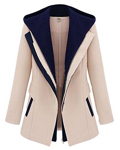 Damen Stylischer Absatz Jackett Warme Jacke Mantel mit Kapuze Beige