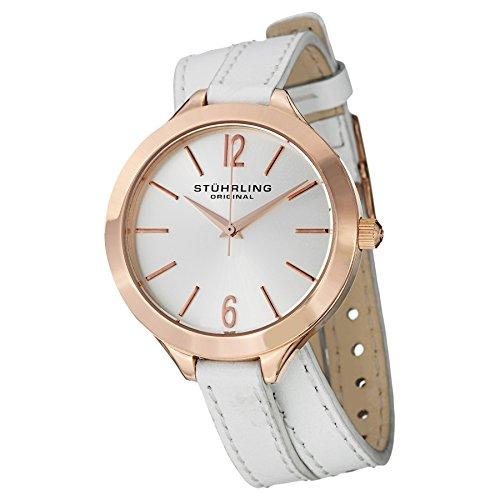 Stührling Original 568.03 - Reloj analógico para mujer, correa de cuero, color blanco