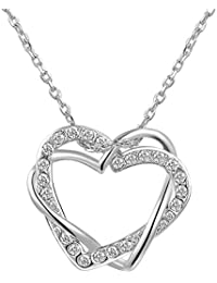 Carina Adore Double Heart 18k White Gold Plated Swarovski Element Crystal Diamond Pendant For Girls And Women