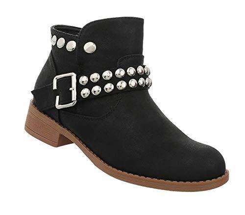 Damen Schuhe Stiefeletten | Blockabsatz Kurzschaft | Moderne Flache Ankle Booties | bequemer Stiefel | Schnalle und Nieten | Schwarz 40