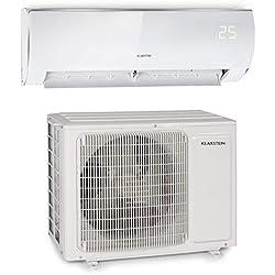 KLARSTEIN Windwaker Eco - Climatiseur Split, 12 000 BTU/h (3516W), 680m³/h, Chauffage et Refroidisseur, A++/A+, 5 Modes, 3 Modes Veille, écran LED, Télécommande, Blanc