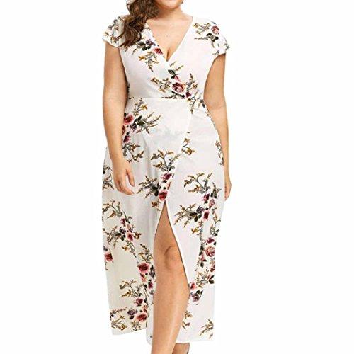 Maxikleid Plus Size Unregelmäßiges Kleider Damen Freizeitkleid(A-Weiß,EU-50/CN-4XL) (Plus Size Dorothy Kostüme)