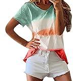 ✔Piabigka✔T-Shirt da Donna a Manica Corta Camicia Bianca, Elegante Donne Casual Camicetta con Stampa Floreale Top a Maniche Corte Maglietta Tinta Unita Spiaggia Casual Maglietta Maglia