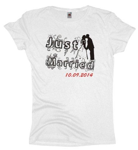 Ma2ca - JGA Just Married mit Datumsangabe - Girlie Damen Jungesellenabschied T-Shirt -white-xxl