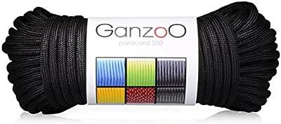 Ganzoo - Cuerda de supervivencia de nailon fabricada a partir de cuerda de paracaídas Paracord 550, soporta hasta 550 libras, longitud total: 31 metros, color negro, (no apta para montañismo)
