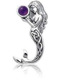 Bling Jewelry Keltischer Knoten simuliert Amethyst Meerjungfrau Silber Anhänger