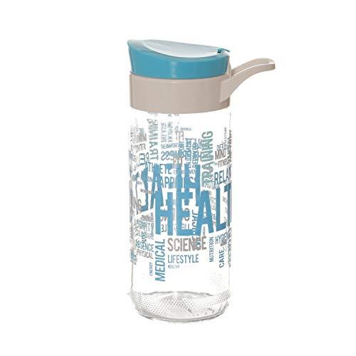 Borraccia scritte azzurre in vetro, da 500 ml
