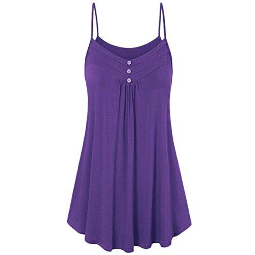 VEMOW Sommer Muttertag Geschenk Casual Täglichen Frauen Damen Lose Taste V-Ausschnitt Cami Tank Tops Weste Bluse T-Shirt T-stücke Pulli Pullover(Lila, EU-48/CN-4X) (Rollkragen Pullover Lila)