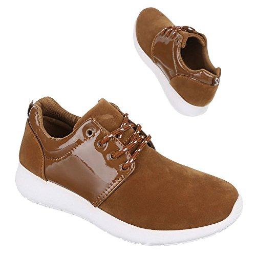 Damen Schuhe, 567, HALBSCHUHE TRENDIGE SCHNÜRER Camel