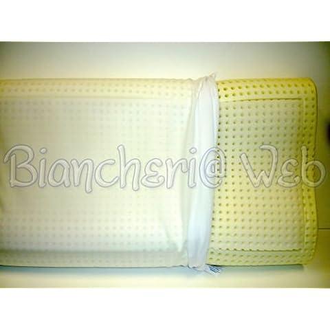 Biancheriaweb - Cuscino guanciale lattice bianco qualita superiore traspirante made in italy; Ergonomico (cervicale)